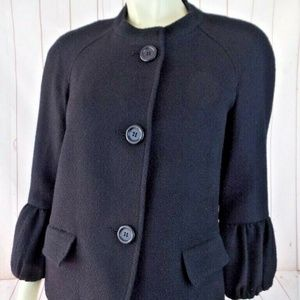 Talbots Blazer 6 Black Textured Wool Poly Blend